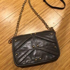 Gray leather Badgley Mischka crossbody evening bag